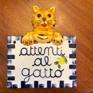 "Italian ceramic ""watch out for the cat"" wall piece"